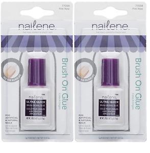 Nailene Ultra Quick Brush On Nail Glue, Pink (2 Pack)