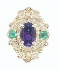 14K Yellow Gold Old Victoria Slide Bracelet Charm Oval Amethyst & Emerald