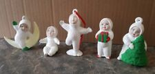 Lot of 5 Ceramic Hand Painted Snow Babies Christmas Ornaments