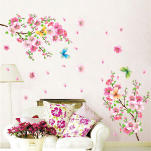 Large Cherry Blossom Flower Butterfly Tree Wall Stickers Art Decal Decor,