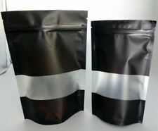 100X 250G(750ML) MATTE BLACK STAND UP POUCH WITH RECTANGLE WINDOW AND ZIP LOCK