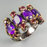 Handmade Jewelry Natural Amethyst 925 Sterling Silver Ring Size 7/R113928
