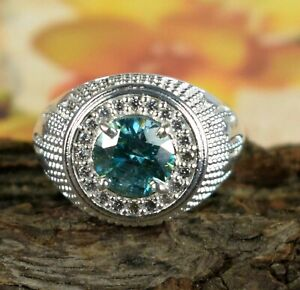 Round Cut 4.29 Ct Blue Diamond Solitaire Men's Halo Ring-Excellent Luster
