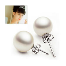 6mm Natural Shell Pearl Classic Jewelry Round Bead Sterling Silver Stud Earrings