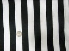 "BLACK WHITE 1"" STRIPE JAIL PRISON REF RAILROAD SEW CRAFT DECOR FABRIC HALF YDS"