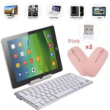 Silver Wireless Keyboard Bluetooth Keypad For Windows Mac Ios Android+2 MOUSE PI