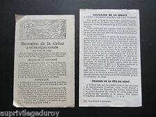 ENSEMBLE de 2 SIGNETS: NEUVAINE de la GRÂCE à St FRANCOIS-XAVIER