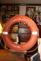 """Antique Life Preserver 27"""" Real Used Heavy Wear Painted Ring"""