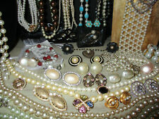 65 PIECE FAUX PEARL AND RHINESTONE VINTAGE TO NOW JEWELRY LOT *WHITING DAVIS*BSK
