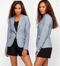 Women Blue Speckled Blazer Smart Tailored Slim Fitted Linen Office Jacket Coat