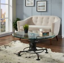 """""""Bronx"""" Modern Industrial Pipe Occasional Cocktail Glass Top Coffee Table Black"""