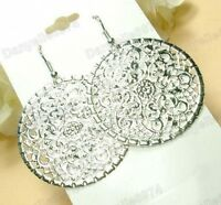 BOHO STYLE ornate FILIGREE drop EARRINGS round hoop cut out disc silver plated