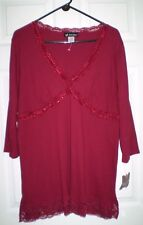16W Self Esteem Burgundy Lace & Sequin Trim Top NWTS