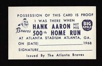 1968 Hank Aaron 500th HR I was there card Atlanta Braves team issued HR KING