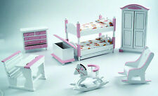 1:12th Scale 7 Piece Pink & White Nursery Set Dolls House Miniature Bed Room 900