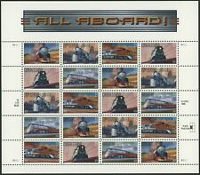 1999 All Aboard Trains - Sheet of 20 (33 cents) Stamps - Scott #3333-37 Mint