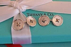 Tiffany & Co Sterling Silver / 18K 750 Yellow Gold Double Button Cuff Links
