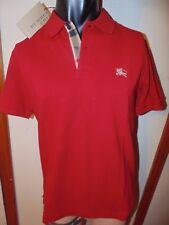 Burberry Brit men military red black short sleeve nova check placket polo shirt