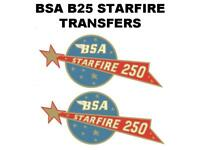 BSA B25 STARFIRE 250 SIDE PANEL TRANSFERS DECALS MOTORCYCLE D50059