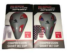 2 Shock Doctor Sport Protective Cups w/ Compression Shorts Sz L ~ Red & Gray Cup