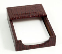"DESK ACCESSORIES - ""GREENWICH"" BROWN ""CROCO"" LEATHER 4"" X 6"" MEMO HOLDER"