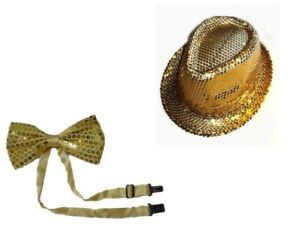 Adult Gold Unisex Gangster Hat Fedora Trilby Sequin Cap Bow Tie Hats Dance Party
