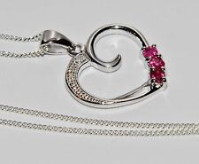Sterling Silver 925 Ruby & Diamond Heart Pendant / Necklace & Chain - Gift Boxed