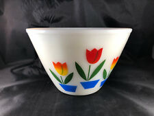 VTG Fire King Tulip Flower Custard Nesting Mixing Bowls 4 pc Set Excellent MS1