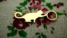 Cat charm gold connector pendant jewellery supplies C1128