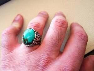 Genuine Tibetan Turquoise 925 Silver Men's Ring Heavy Signet Jewelry P1604