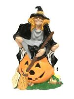 VTG Byron Mold Hand Painted Ceramic Witch Pumpkin Cat Halloween Figure SEXY lamp