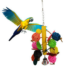 EE_ DV_ Colorful Parrot Toys Rattan Ball Bell Swing Bird Parakeet Hanging Pet Ca