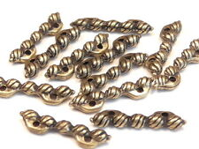 12 - 2 HOLE SLIDER BEADS 2 HOLE SPACER BEADS ANTIQUED BRASS PLATED OVAL SPIRALS