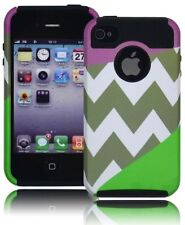 Black Silicone Cover+Purple and Green Chevron Hybrid Hard Case for iPhone 4, 4S