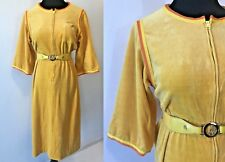 Vintage 1970s Miss Onward Yellow Orange Velour Bicycle Belted Dress size S DS17