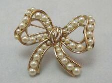 TRIFARI GOLD FILLED BOW SHAPED PIN BROOCH WITH CREATED PEARLS **