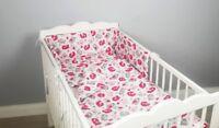 COT BED BEDDING SET 2 ,3, 4 pcs pc pink birds COTTON padded bumper pillowcase