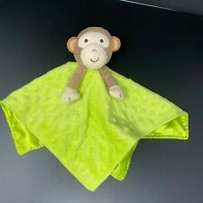 Okie Dokie Brown Monkey Baby Lovey Green Minky Dot Security Blanket Satin Rattle