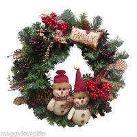 Enchante LUXURY Handmade Family Country Christmas Wreath Garland 40cm Snowman