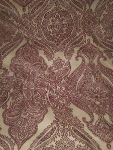 Full Flat Sheet Set Standard Pillowcase BOHO Baroque Burgundy on Cream JCP Home