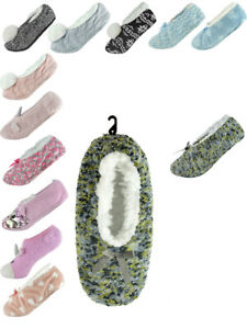 Womens Slipper Socks Warm Fluffy Anti-Slip Fleece Lined Soft Ladies Slippers New