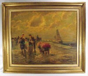 Antique Oil Painting Dutch Master? Flower Scene w Harbor Artist Snd. Unreadable
