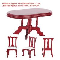 Wooden 1/12 Miniature Doll House Kitchen Table Chair Set Room Furniture Kids Toy