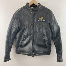 Vintage Vtg 80's Honda Embroidered Logo Motorcycle Leather Jacket Hondaline