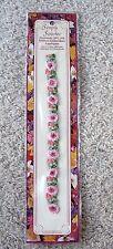 NIP Vtg Simple Stitches Handmade 100% Silk Ribbon Rose Strip Embroidery Applique