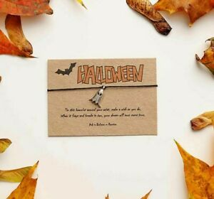 Halloween Wish Bracelet, Ghost String Bracelet, Bat Charm Bracelet, party bag