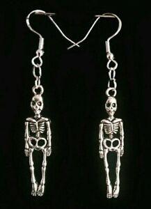 Mini Skeleton Silver Earrings Skull Gothic Horror Occult Bones Halloween