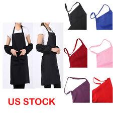 6 Colors Plain Apron Dress Men Women Chefs Kitchen Cooking Baking +2 Pocket Usa
