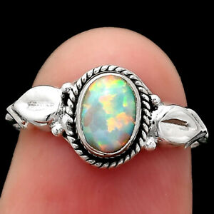 Fire Opal 925 Sterling Silver Ring s.6 Jewelry 3027