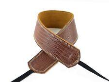 "Pete Schmidt Leather 2"" Camera Neck Strap (Brown Iguana) Cream Stitch - NEW"
